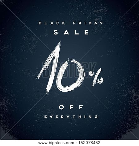 Black Friday Sale vector banner with percentual discount offer in modern watercolor brush handwriting. Eps10 vector illustration.