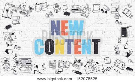 New Content. New Content Drawn on White Wall. New Content in Multicolor. Doodle Design. Modern Style Illustration. Doodle Design Style of New Content. Line Style Illustration. White Brick Wall.