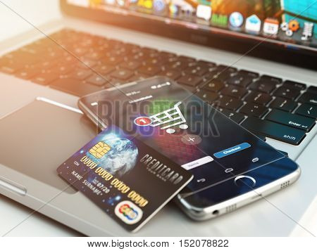 Mobile banking or online shopping concept. Mobile phone and credit card on laptop background. 3d illustration