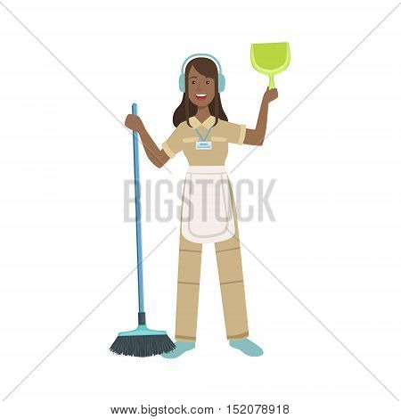 Hotel Professional Maid With Dustpan And Broom Illustration. Cleaning Lady Tiding Up With Special Inventory Simple Flat Vector Drawing.