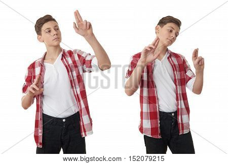 Set of cute teenager boy in red checkered shirt working with virtual screen over white isolated background, half body