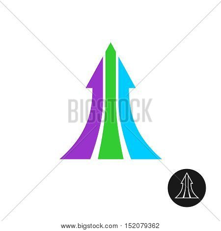 Three ways arrow up logo template. Motivation symbol, grow.