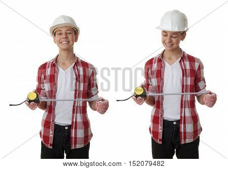 Set of cute teenager boy in red checkered shirt, building helmet and measuring tape over white isolated background, half body, constructing concept