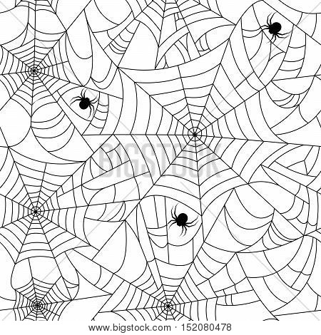 Halloween spider web seamless pattern with black spiders. Black and white. Seamless vector halloween cobweb background. Halloween invitation. Happy Halloween Poster.