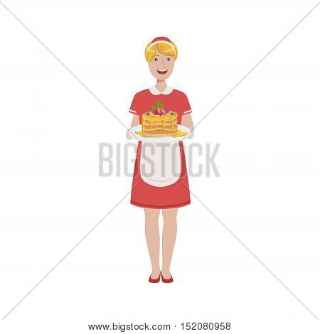 Hotel Professional Maid Serving Breakfast Illustration. Cleaning Lady Tiding Up With Special Inventory Simple Flat Vector Drawing.