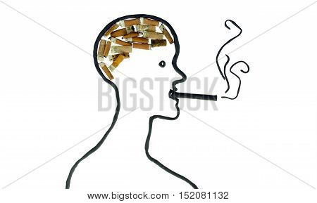 smoking man brain clay and cigarette butt
