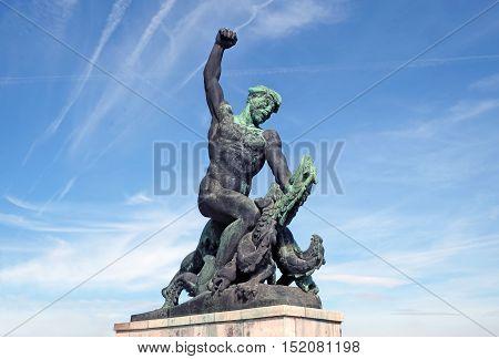 BUDAPEST HUNGARY - SEPTEMBER 28 2016: Sculpture fighter dragons detail Monument to Freedom on Gellert Hill in Budapest