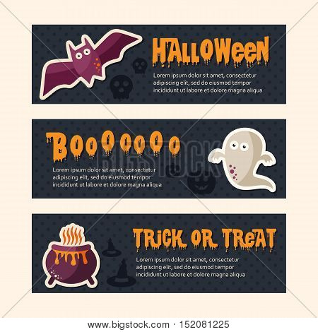 Happy Halloween banners set design Trick or treat Zombie party vector illustration