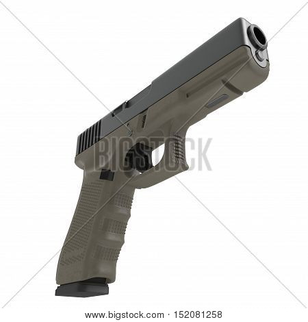 Automatic 9mm handgun pistol isolated on white background. 3D illustration