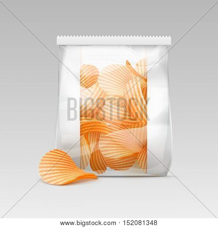 Vector White Vertical Sealed Transparent Plastic Bag for Package Design with Potato Ripple Crispy Chips Close up Isolated on White Background