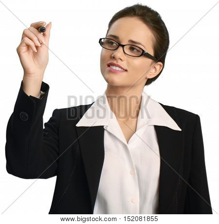 Professionally dressed female writing with a dry erase marker