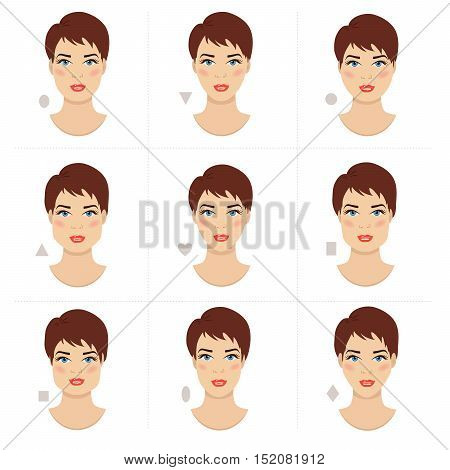 Different female face shapes. Various woman face types chart. Set of vector illustrations.