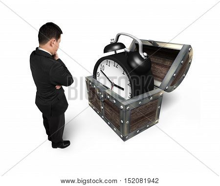 Businessman Looking At Alarm Clock In Treasure Chest.