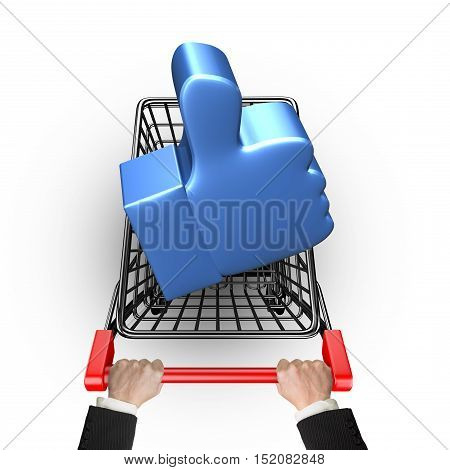 Blue Thumb Up In Shopping Cart With Hand Holding