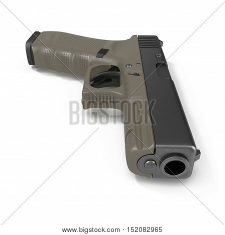 Isolated gun on white background. 3D illustration