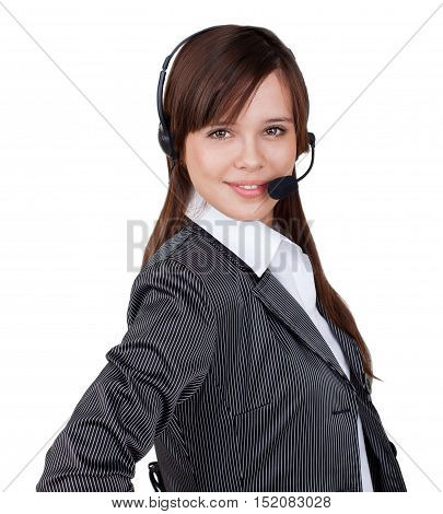 Businesswoman Call Center Employee - Isolated on White