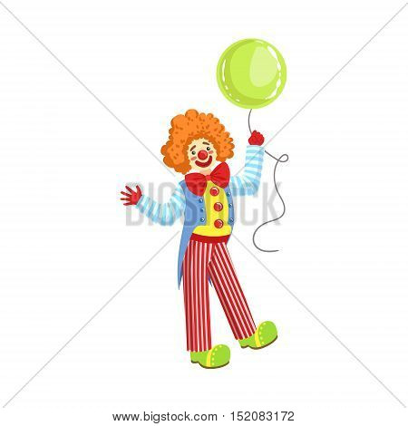 Colorful Friendly Clown With Balloon In Classic Outfit. Childish Circus Clown Character Performing In Costume And Make Up.