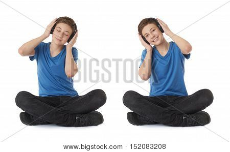 Cute teenager boy in blue T-shirt, headphones and lotus posture over white isolated background