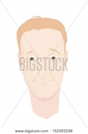 Head of a man with uncertain emotion (thinking, having doubts, amazed). Vector illustration. Cartoon style.