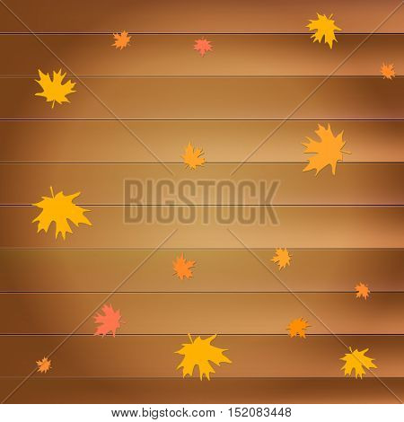 Happy thanksgiving day greeting card with falling yellow maple leaves on wooden planks background for flyer, poster and other design.