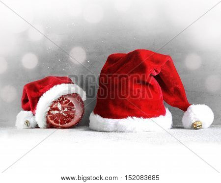 Christmas grey background with Santa hat.Happy new year. santa hat .