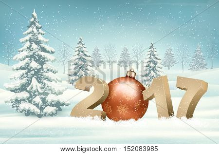 Christmas background with a 2017 and a bauble. Vector.