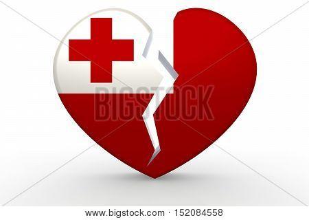Broken White Heart Shape With Tonga Flag