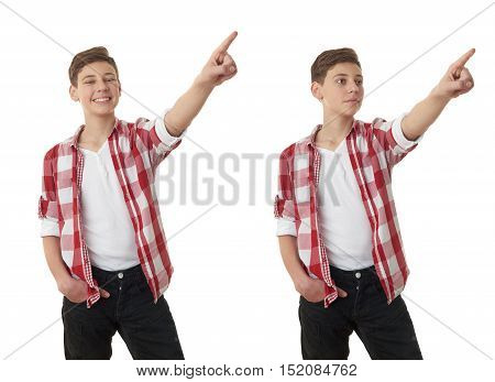 Set of cute teenager boy in red checkered shirt poinitng up side over white isolated background, half body