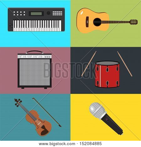 Musical instruments set music flat vector audio