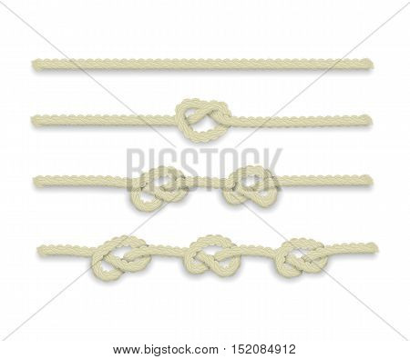 Isolated realistic vector rope with knots on white background.