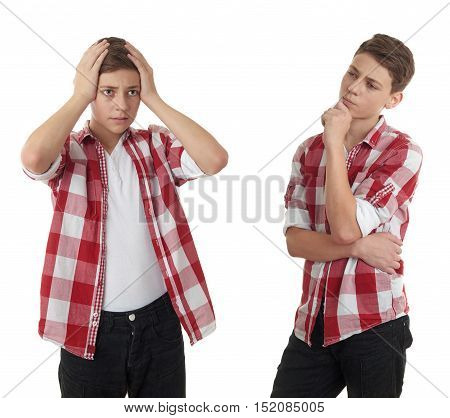 Set of cute teenager boy in red checkered shirt with hands over head over white isolated background, half body