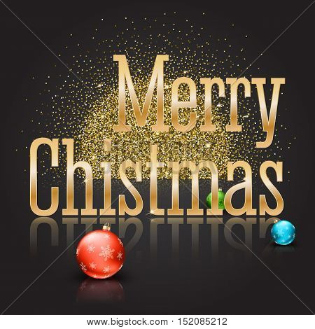 Greeting card with a big golden inscription Merry Christmas and color Christmas balls with snowflakes on a magical background with gold glitter and glowing. Template for your greeting cards