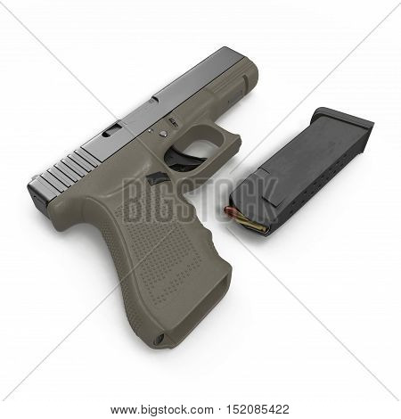 Semi automatic pistol with magazine and ammo on a white background. 3D illustration