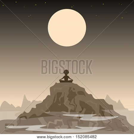 meditating man on the background of the moon and mountains
