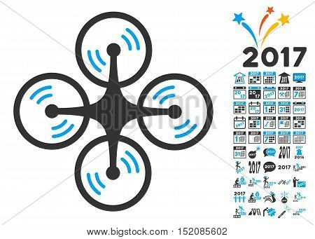 Quadcopter Screw Rotation icon with bonus 2017 new year pictograph collection. Vector illustration style is flat iconic symbols, blue and gray colors, white background.