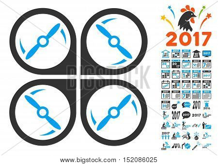 Quadcopter Screws Rotation icon with bonus 2017 new year images. Vector illustration style is flat iconic symbols, blue and gray colors, white background.