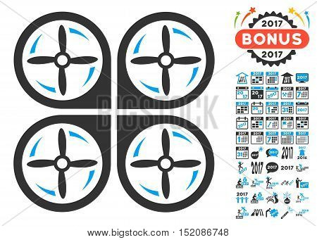 Quadrotor Screws Rotation pictograph with bonus 2017 new year pictures. Vector illustration style is flat iconic symbols, blue and gray colors, white background.
