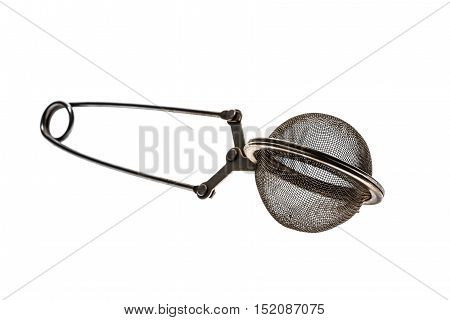 Tea Strainer Clamp On The White Background.