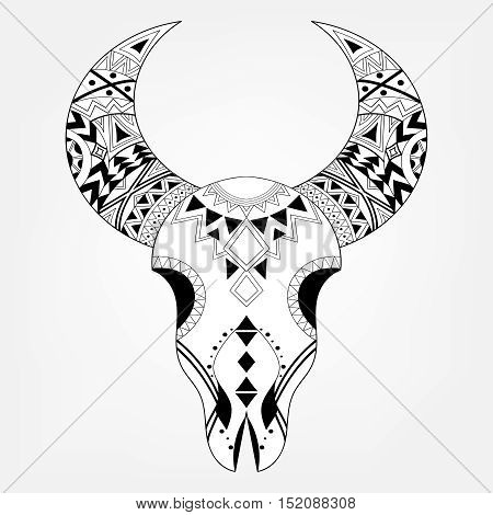 Zentangle animal Skull in tribal style. Freehand boho sketch for adult coloring page with doodle ethnic elements. Ornamental artistic vector illustration for spiritual romantic tattoo, t-shirt print.