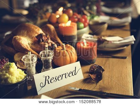 Reserved Sign Roasted Turkey Thanksgiving Table Setting Concept