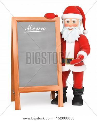 3d christmas people illustration. Santa Claus with blank wooden poster menu. Isolated white background.