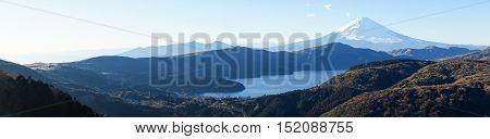 Mt. Fuji and Lake Ashi in Hakone, Japan. Mt.Fuji is the highest mountain in Japan. It is added to World Heritage List on 2013.