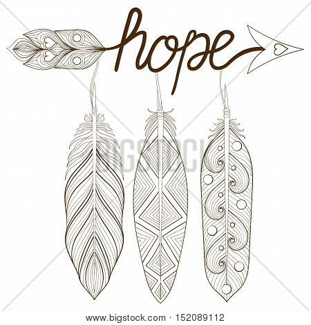Bohemian Arrow, Hand drawn Amulet, letters Hope with henna feathers. Decorative Arrows for adult coloring pages, ethnic patterned t-shirt print. Boho chic style. Doodle Illustration, tattoo design.