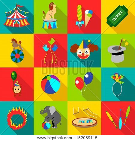 Circus icons set. Flat illustration of 16 circus vector icons for web