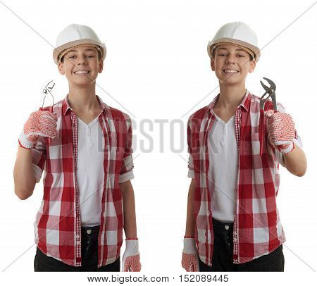 Set of cute teenager boy in red checkered shirt, building helmet and wrench over white isolated background, half body, constructing concept