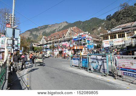 Nainital, Uttarakhand, India- November 11, 2015: Market place at Riksha Stand, Mallital, Nainital, Uttarakhand, India.  Nainital is a popular hill station in Uttarakhand, named after the Goddess Naina Devi. It also known as the 'Gateway to Kumaon Himalaya