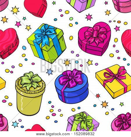 Seamless pattern of colorful sketch gift boxes with bows and ribbons. Xmas, birthday, Valentine presents, gift and present boxes seamless pattern for textile, prints, backgrounds, wrap and cards