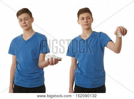 Set of cute teenager boy in blue T-shirt with handkerchief over white isolated background, half body, sickness concept