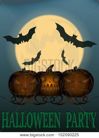party Halloween. vector illustration. the old poster. three angry pumpkins. the moon and bats