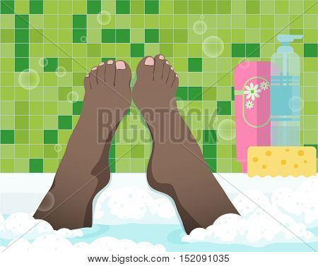 Female feet in bathroom, color vector illustration. Black woman take a bath with foam, first-person view.